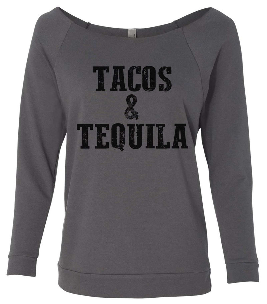 Tacos & Tequila 3/4 Sleeve Raw Edge French Terry Cut - Dolman Style Very Trendy Funny Shirt Small / Charcoal Dark Gray