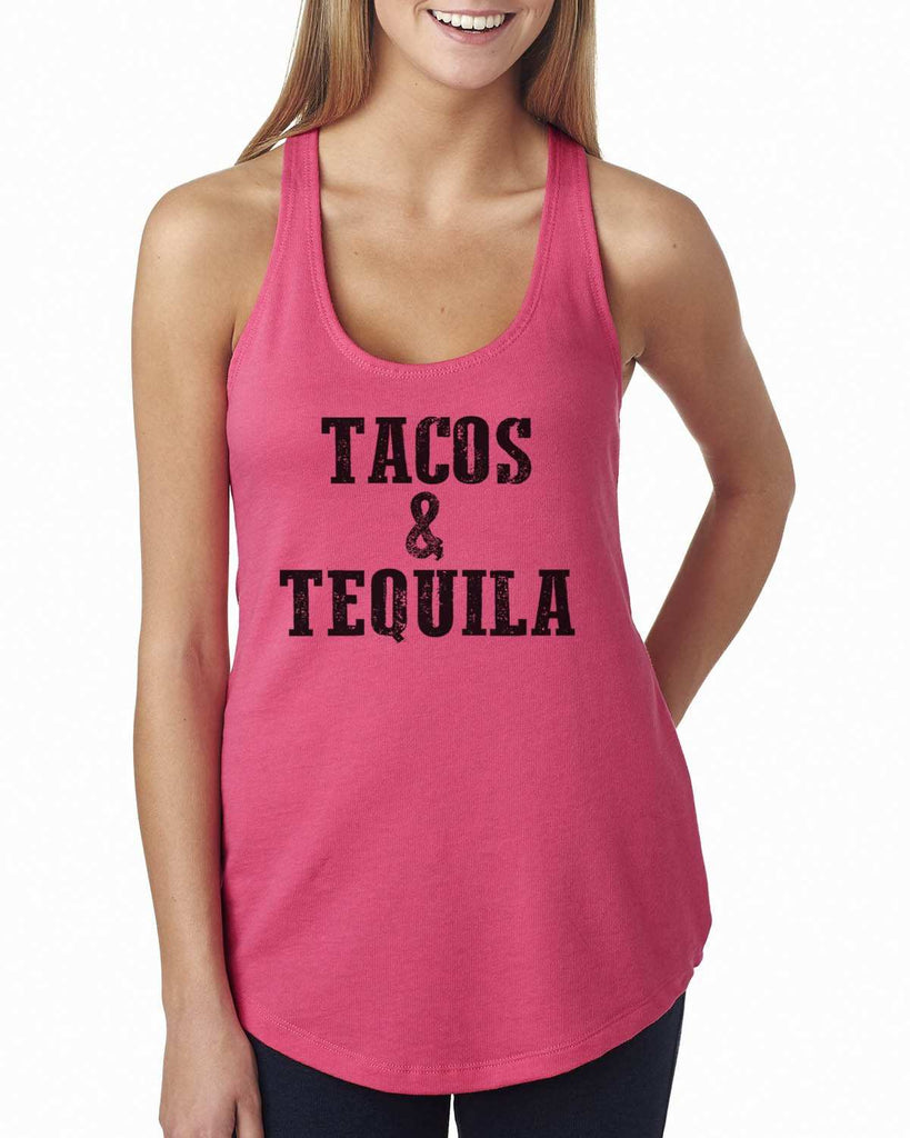 Tacos & Tequila Womens Workout Tank Top Funny Shirt
