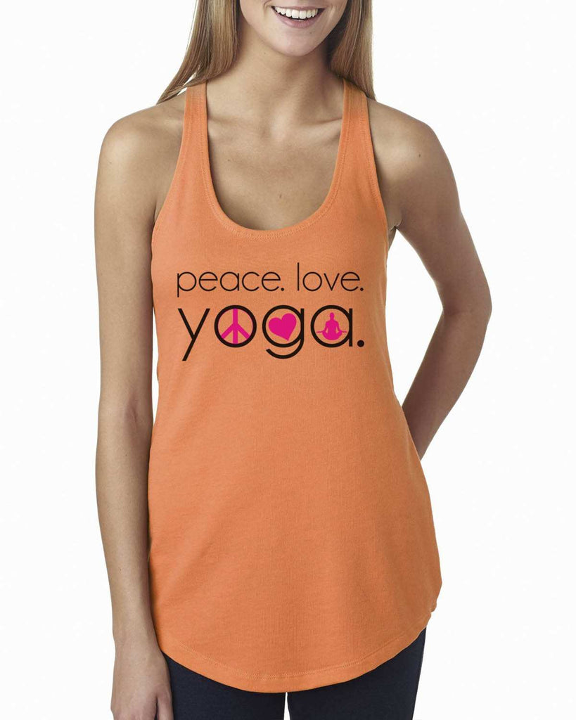 Peace Love Yoga Womens Workout Tank Top Funny Shirt