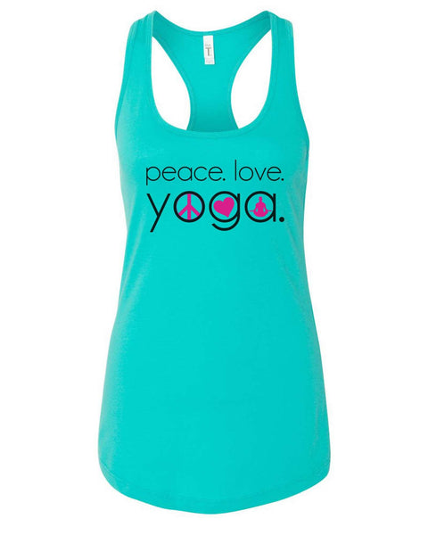 Womens Peace Love Yoga Grapahic Design Fitted Tank Top Funny Shirt Small / Sky Blue