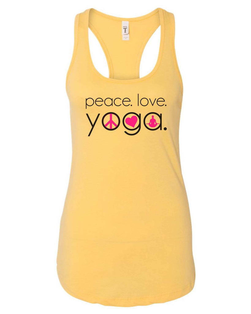 Womens Peace Love Yoga Grapahic Design Fitted Tank Top Funny Shirt Small / Yellow