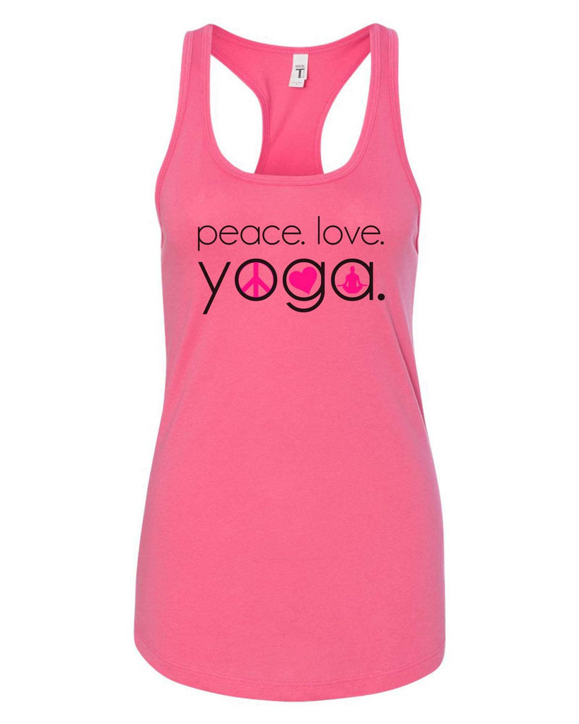 Womens Peace Love Yoga Grapahic Design Fitted Tank Top Funny Shirt Small / Fuchsia
