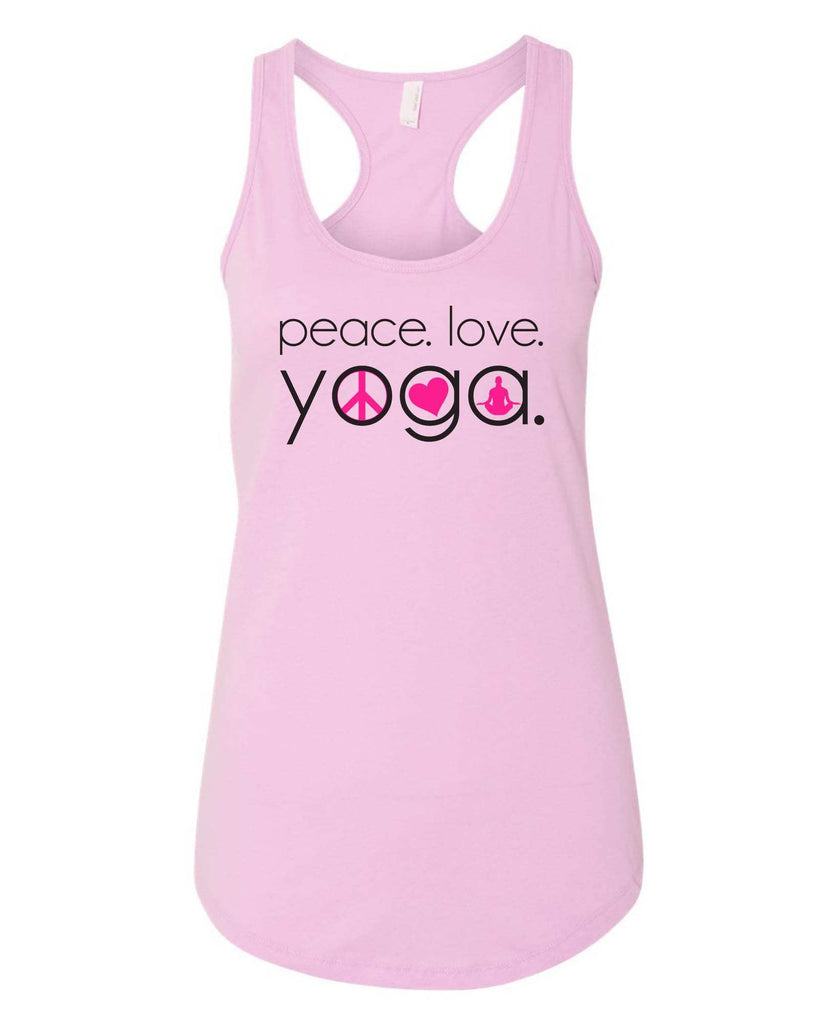 Womens Peace Love Yoga Grapahic Design Fitted Tank Top Funny Shirt Small / Lilac