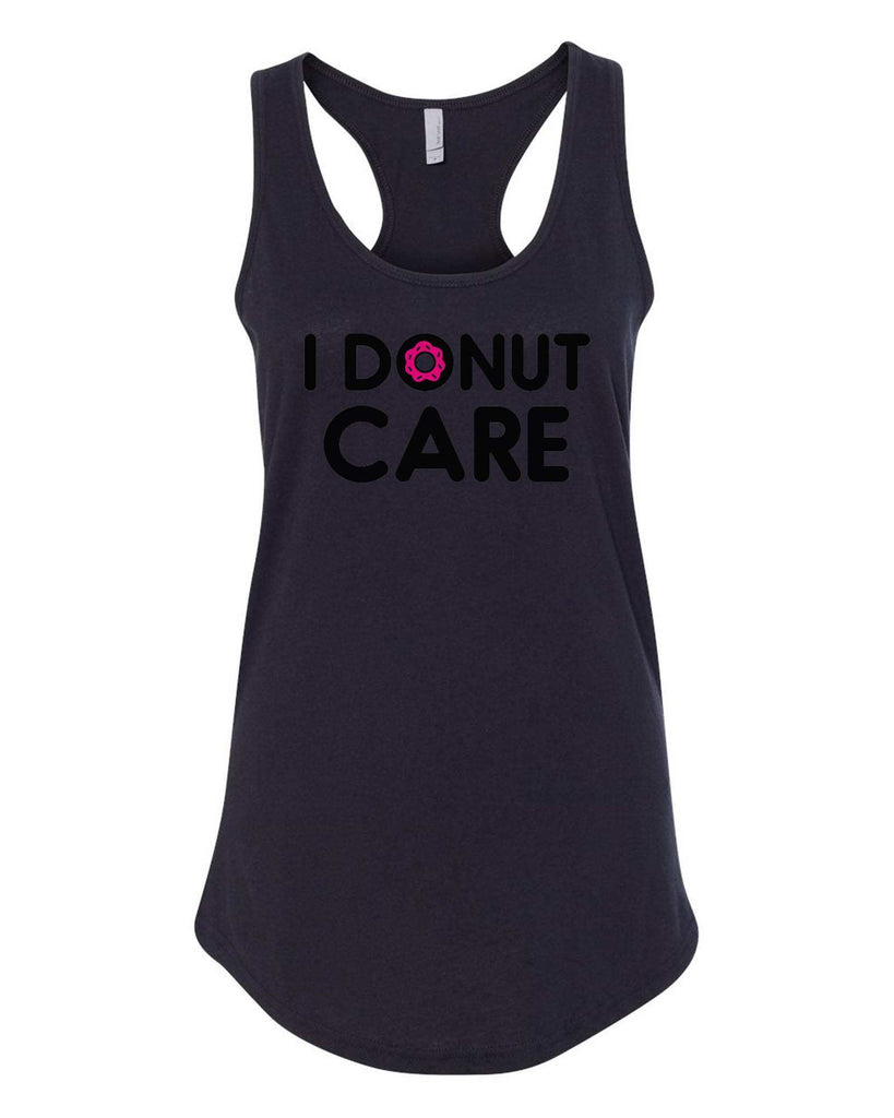 Womens I Donut Care Grapahic Design Fitted Tank Top Funny Shirt Small / Black