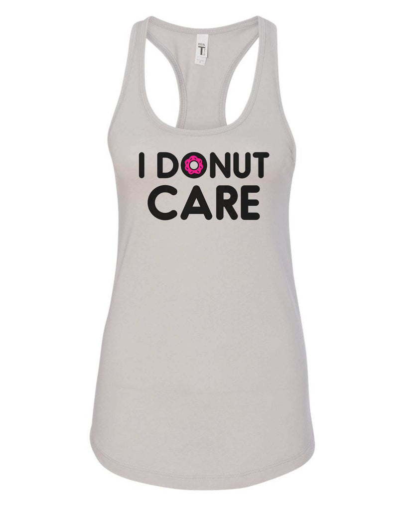 Womens I Donut Care Grapahic Design Fitted Tank Top Funny Shirt Small / Silver
