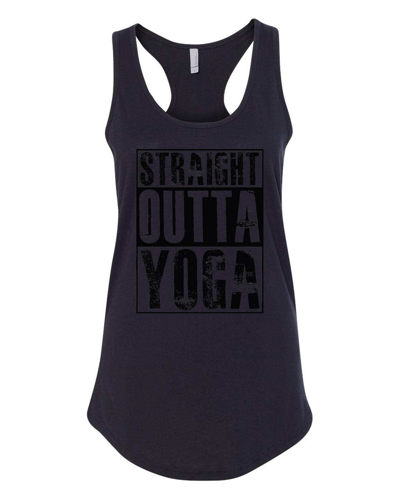 Womens Straight Outta Yoga Grapahic Design Fitted Tank Top Funny Shirt Small / Black