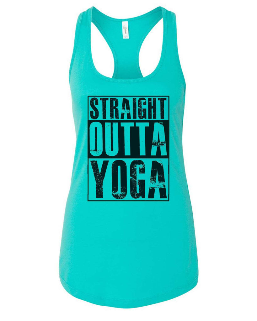 Womens Straight Outta Yoga Grapahic Design Fitted Tank Top Funny Shirt Small / Sky Blue
