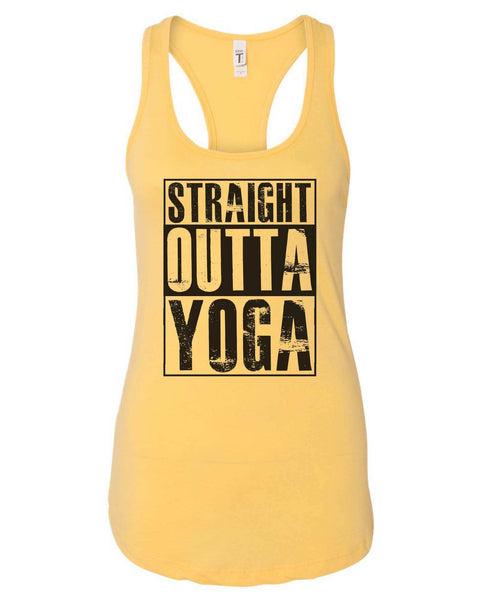 Womens Straight Outta Yoga Grapahic Design Fitted Tank Top Funny Shirt Small / Yellow