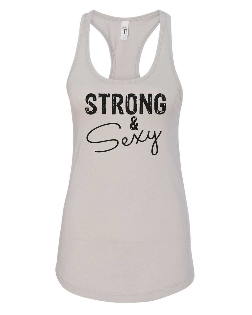 Womens Strong & Sexy Grapahic Design Fitted Tank Top Funny Shirt Small / Silver
