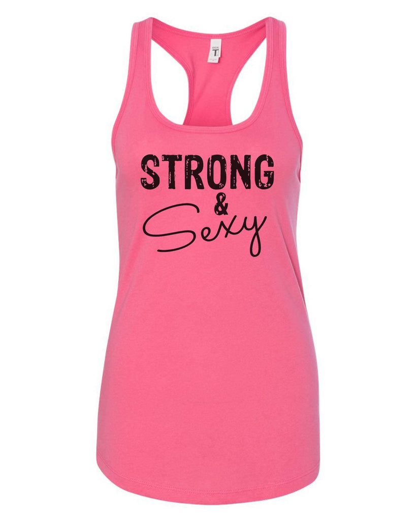 Womens Strong & Sexy Grapahic Design Fitted Tank Top Funny Shirt Small / Fuchsia