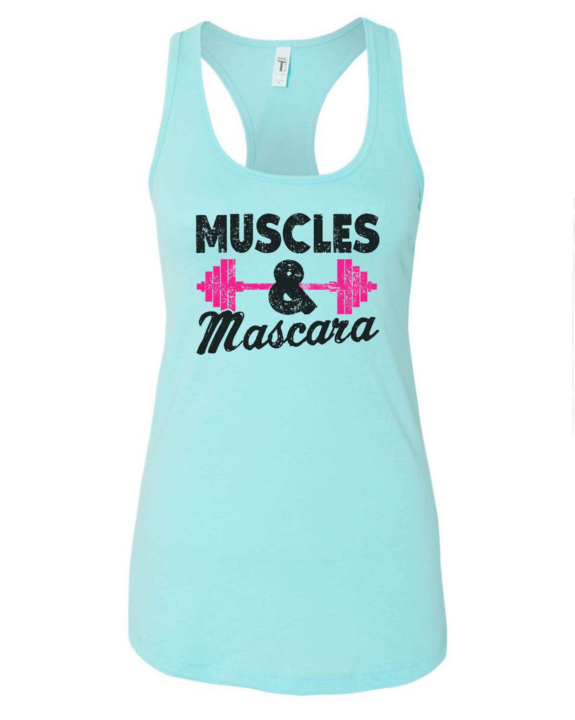 Womens Muscles And Mascara Grapahic Design Fitted Tank Top Funny Shirt Small / Cancun