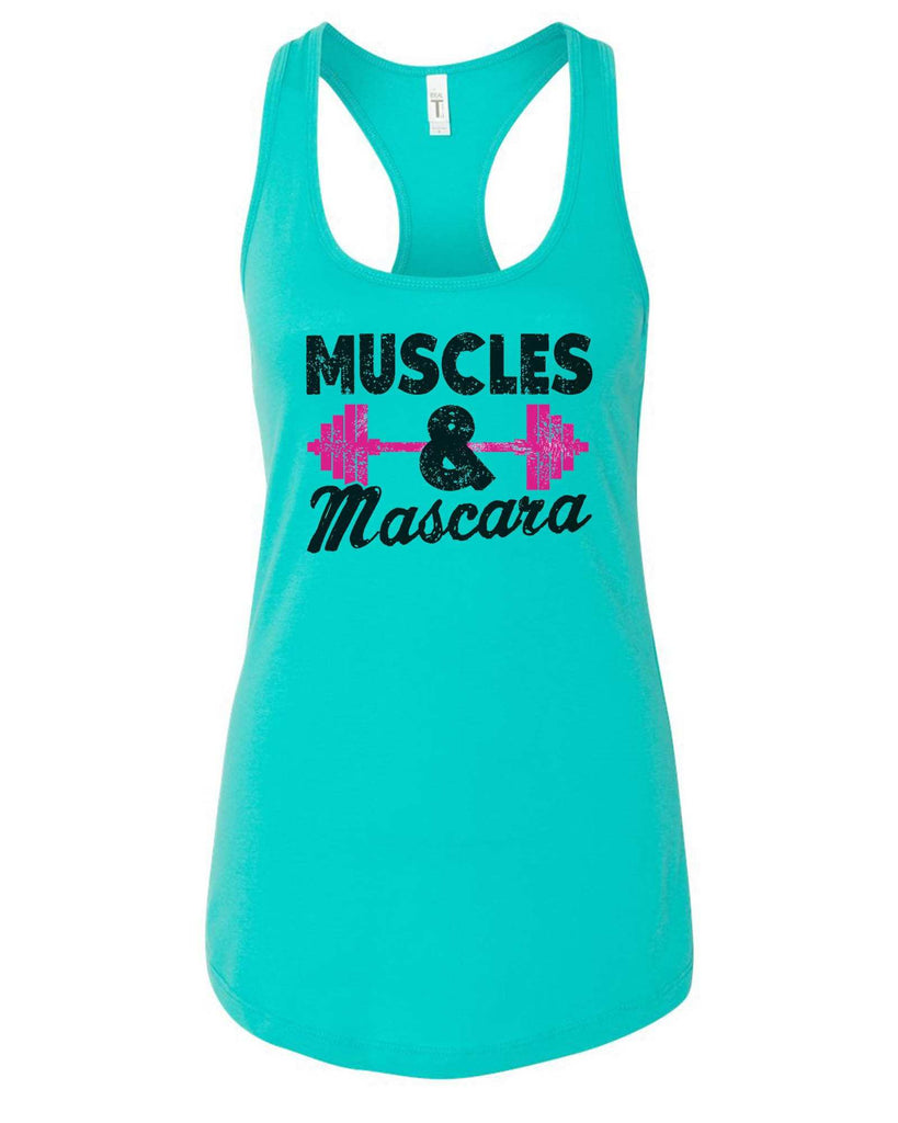 Womens Muscles And Mascara Grapahic Design Fitted Tank Top Funny Shirt Small / Sky Blue