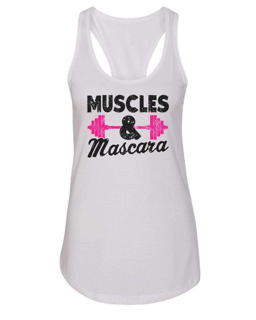 Womens Muscles And Mascara Grapahic Design Fitted Tank Top Funny Shirt Small / White