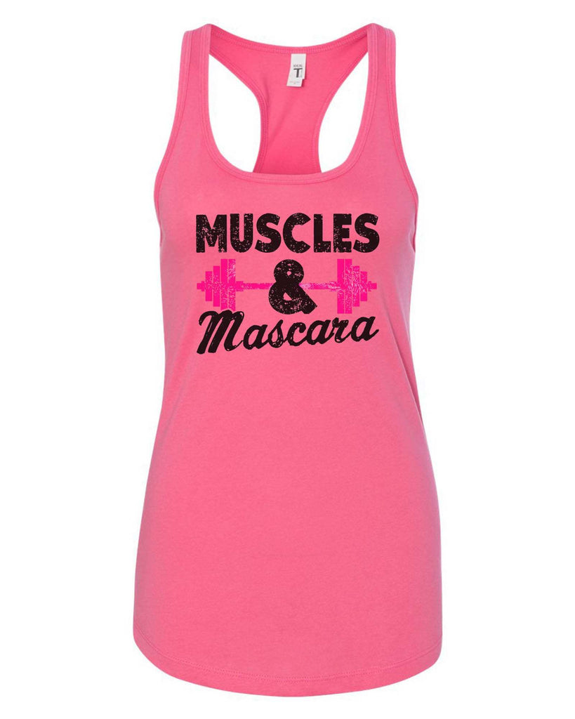 Womens Muscles And Mascara Grapahic Design Fitted Tank Top Funny Shirt Small / Fuchsia