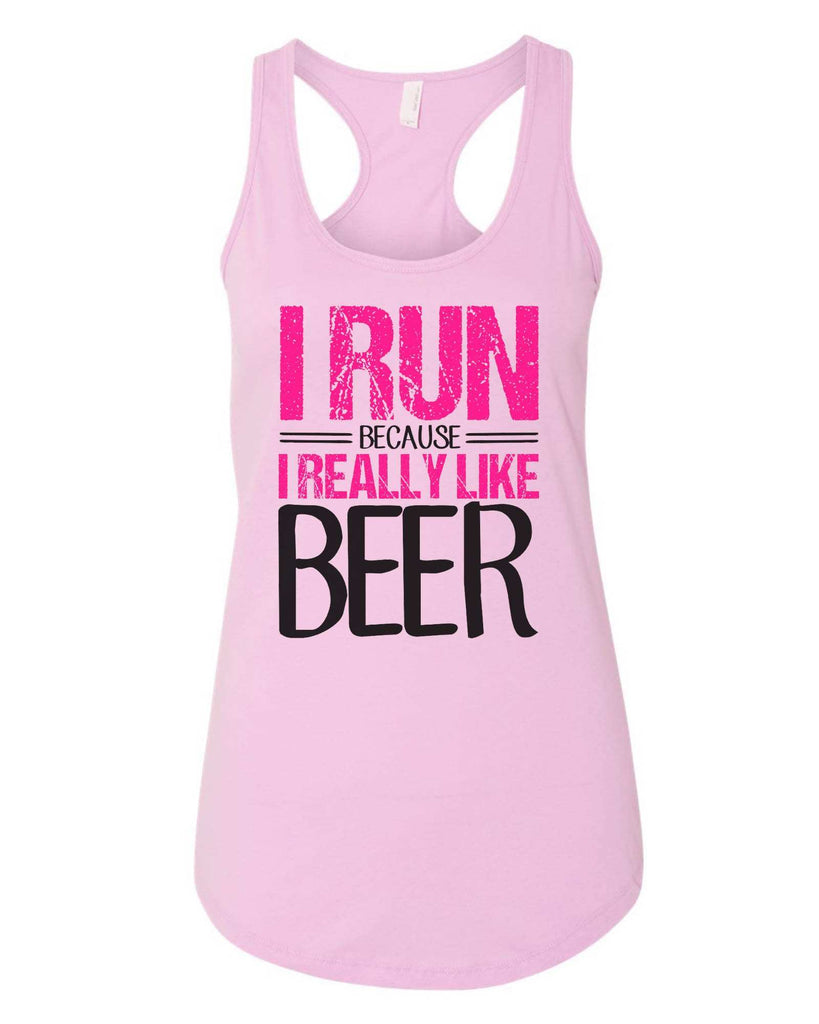 Womens I Run Because I Really Like Beer Grapahic Design Fitted Tank Top Funny Shirt Small / Lilac