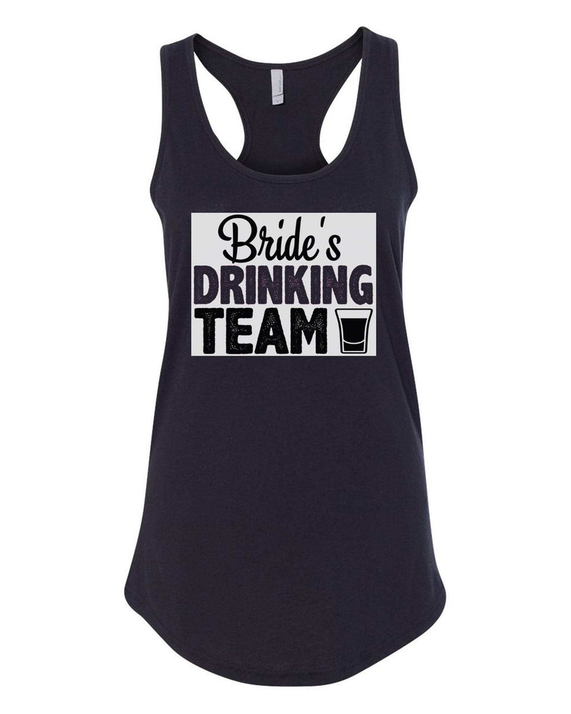 Womens Bride's Drinking Team Grapahic Design Fitted Tank Top Funny Shirt Small / Black