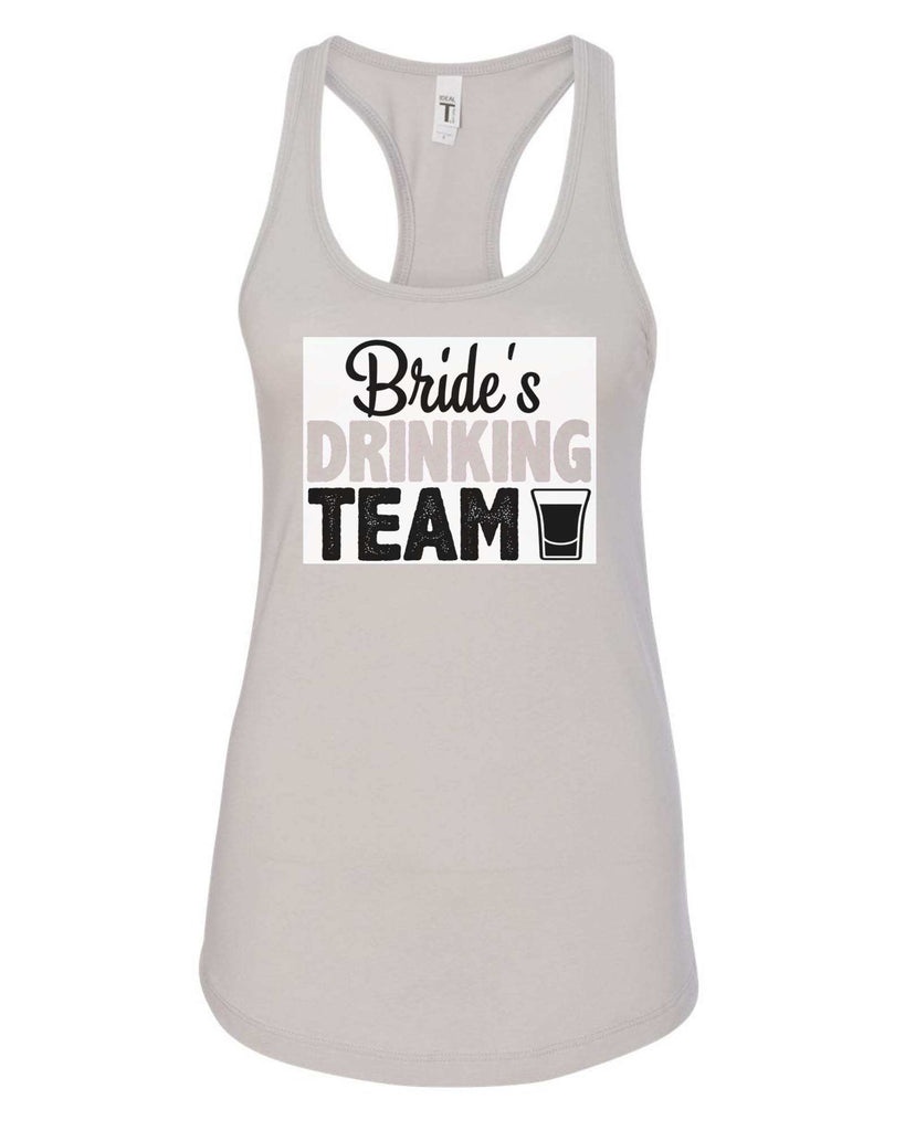 Womens Bride's Drinking Team Grapahic Design Fitted Tank Top Funny Shirt Small / Silver