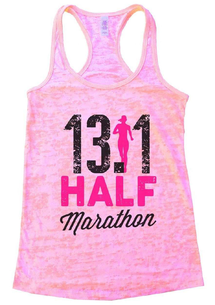 13.1 HALF Marathon Burnout Tank Top By Funny Threadz Funny Shirt Small / Light Pink