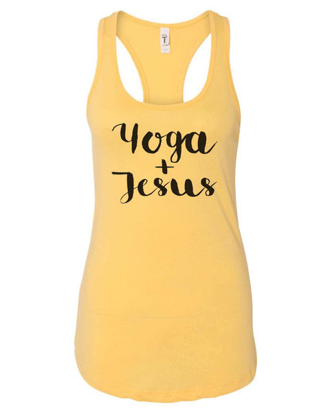 Womens Yoga And Jesus Grapahic Design Fitted Tank Top Funny Shirt Small / Yellow