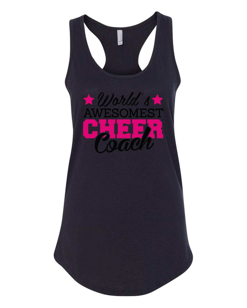 Womens World'S Awesomest Cheer Coach Grapahic Design Fitted Tank Top Funny Shirt Small / Black