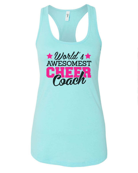 Womens World'S Awesomest Cheer Coach Grapahic Design Fitted Tank Top Funny Shirt Small / Cancun