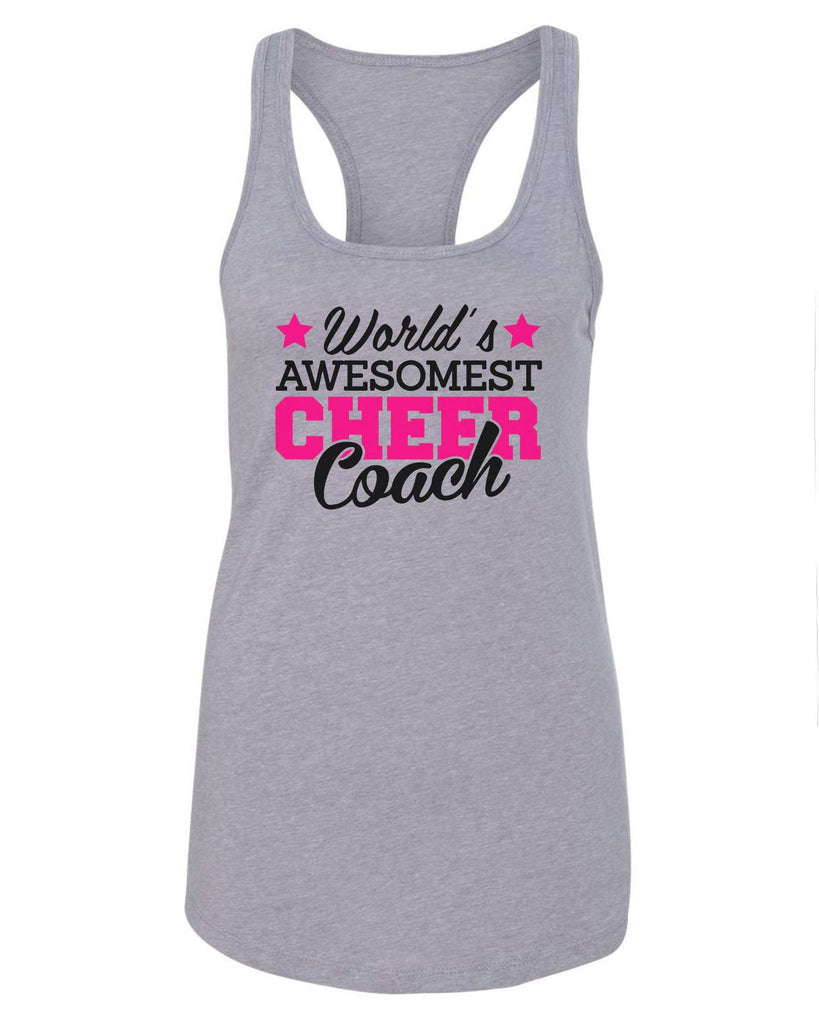 Womens World'S Awesomest Cheer Coach Grapahic Design Fitted Tank Top Funny Shirt Small / Grey