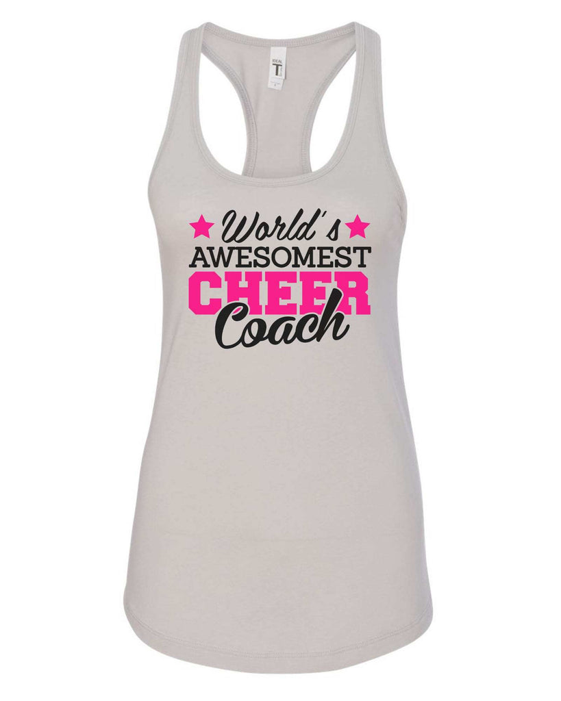 Womens World'S Awesomest Cheer Coach Grapahic Design Fitted Tank Top Funny Shirt Small / Silver