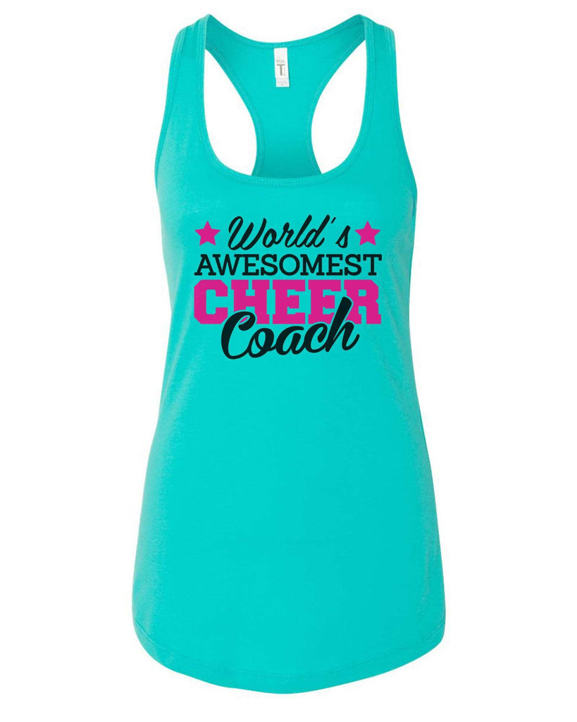 Womens World'S Awesomest Cheer Coach Grapahic Design Fitted Tank Top Funny Shirt Small / Sky Blue