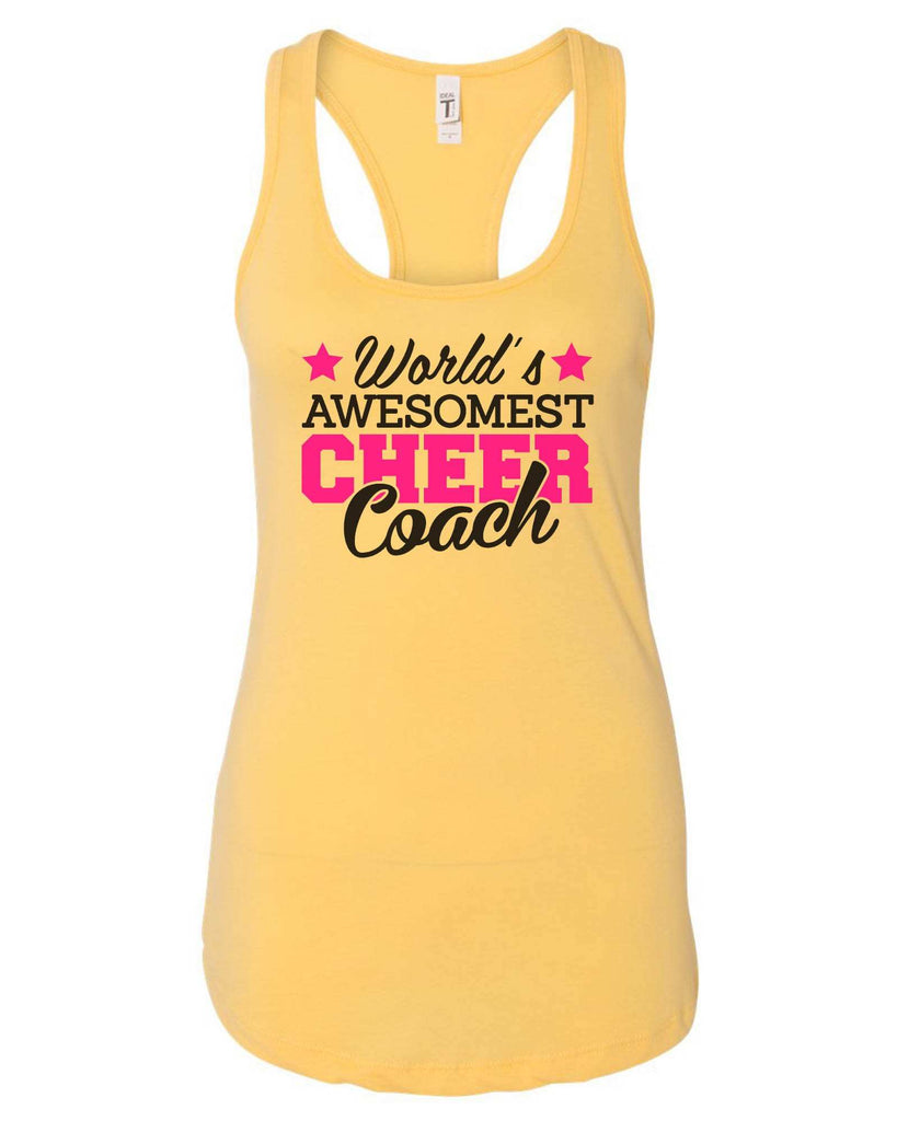Womens World'S Awesomest Cheer Coach Grapahic Design Fitted Tank Top Funny Shirt Small / Yellow