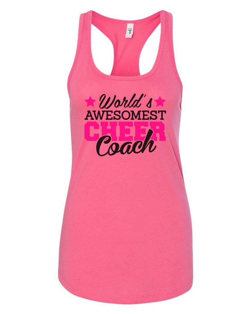 Womens World'S Awesomest Cheer Coach Grapahic Design Fitted Tank Top Funny Shirt Small / Fuchsia