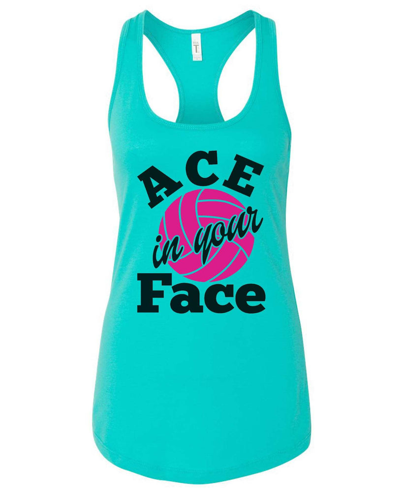 Womens Ace In Your Face Grapahic Design Fitted Tank Top Funny Shirt Small / Sky Blue