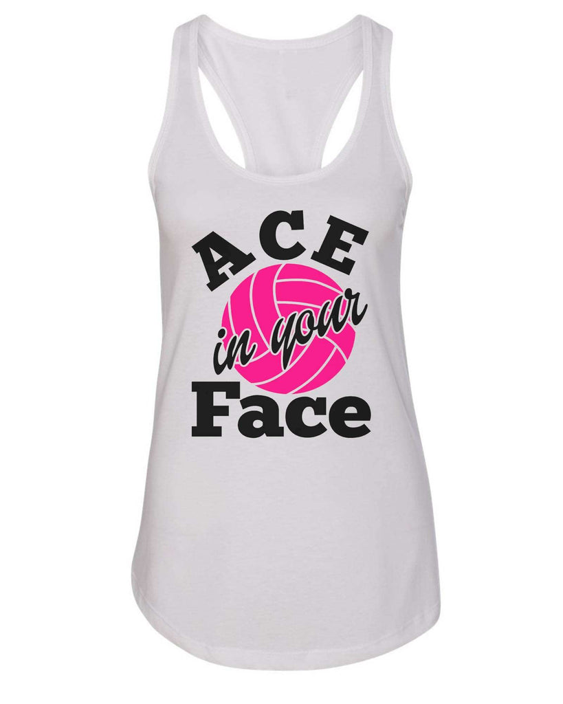 Womens Ace In Your Face Grapahic Design Fitted Tank Top Funny Shirt Small / White