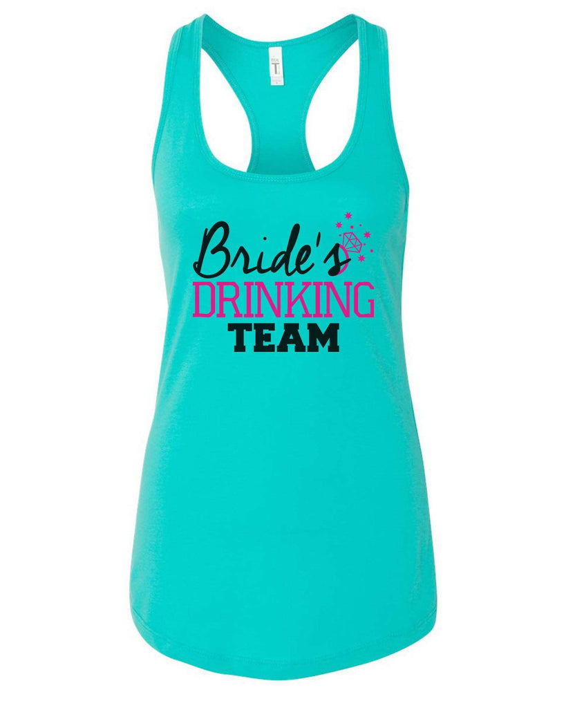 Womens Bride's Drinking Team Grapahic Design Fitted Tank Top Funny Shirt Small / Sky Blue