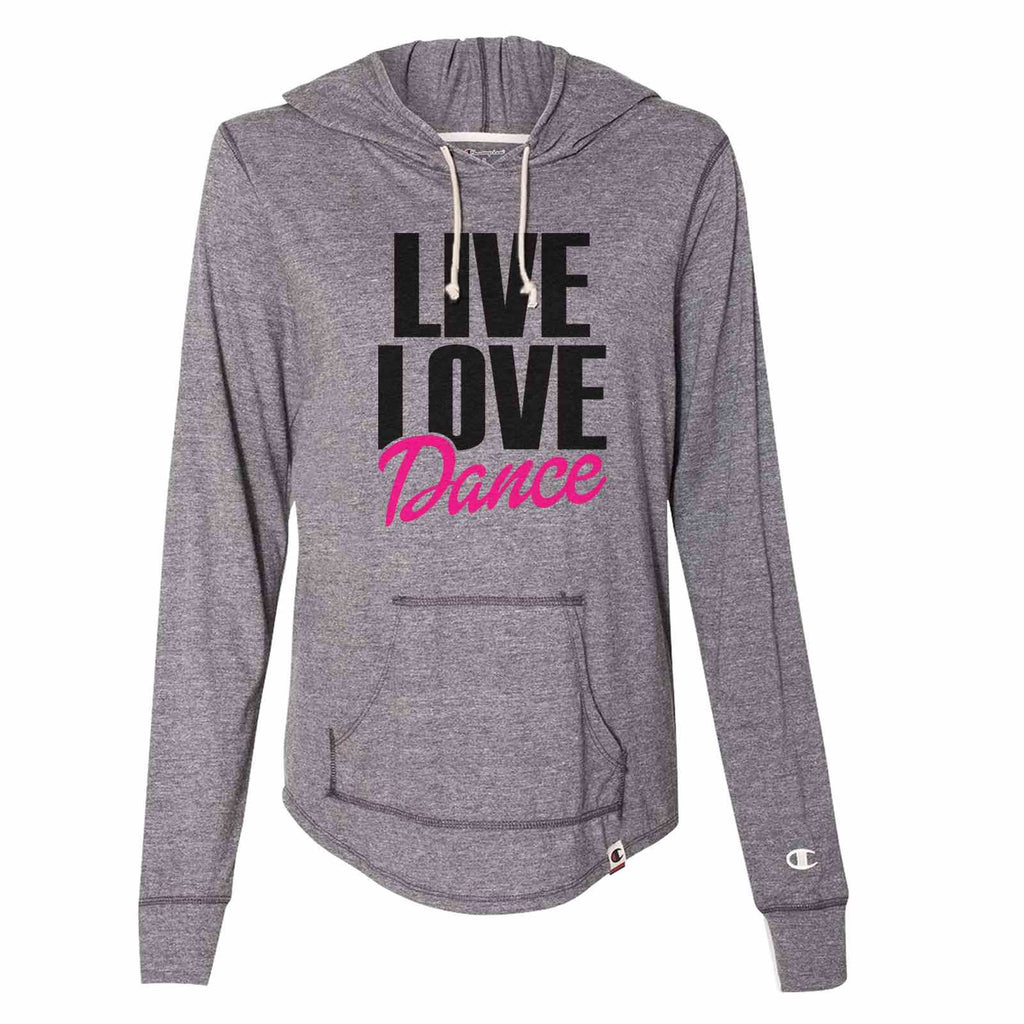 Live Love Dance - Womens Champion Brand Hoodie - Hooded Sweatshirt Funny Shirt Small / Dark Grey