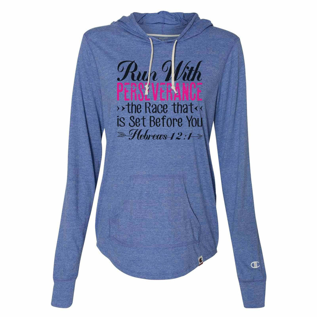Run With Perseverance The Race That Is Set Before You - Womens Champion Brand Hoodie - Hooded Sweatshirt Funny Shirt Small / Blue