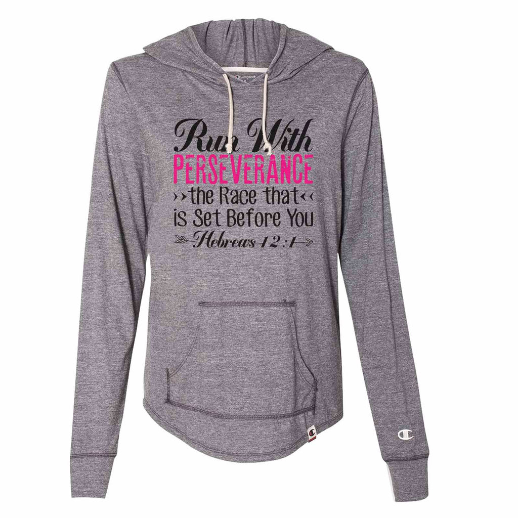 Run With Perseverance The Race That Is Set Before You - Womens Champion Brand Hoodie - Hooded Sweatshirt Funny Shirt Small / Dark Grey