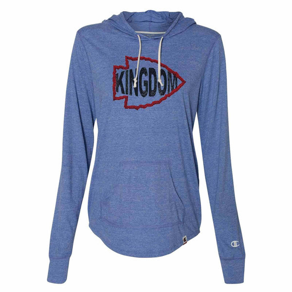 Arrowhead Kingdom - Womens Champion Brand Hoodie - Hooded Sweatshirt Funny Shirt Small / Blue