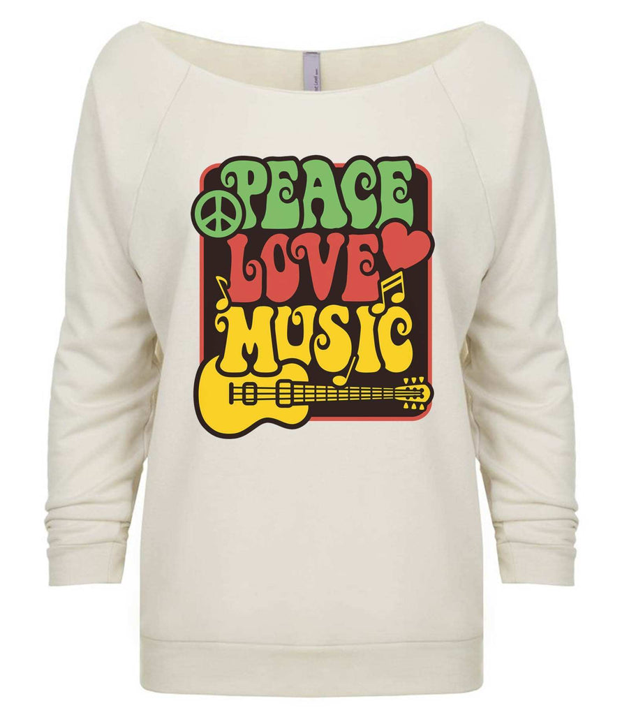 Peace Love Music 3/4 Sleeve Raw Edge French Terry Cut - Dolman Style Very Trendy