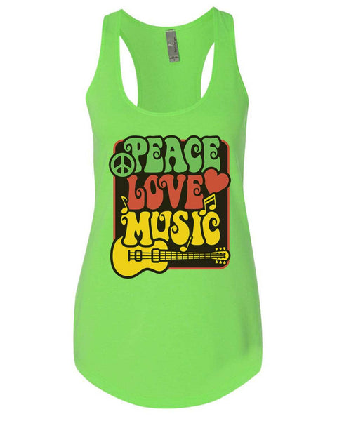 Peace Love Music Womens Workout Tank Top Funny Shirt Small / Neon Green