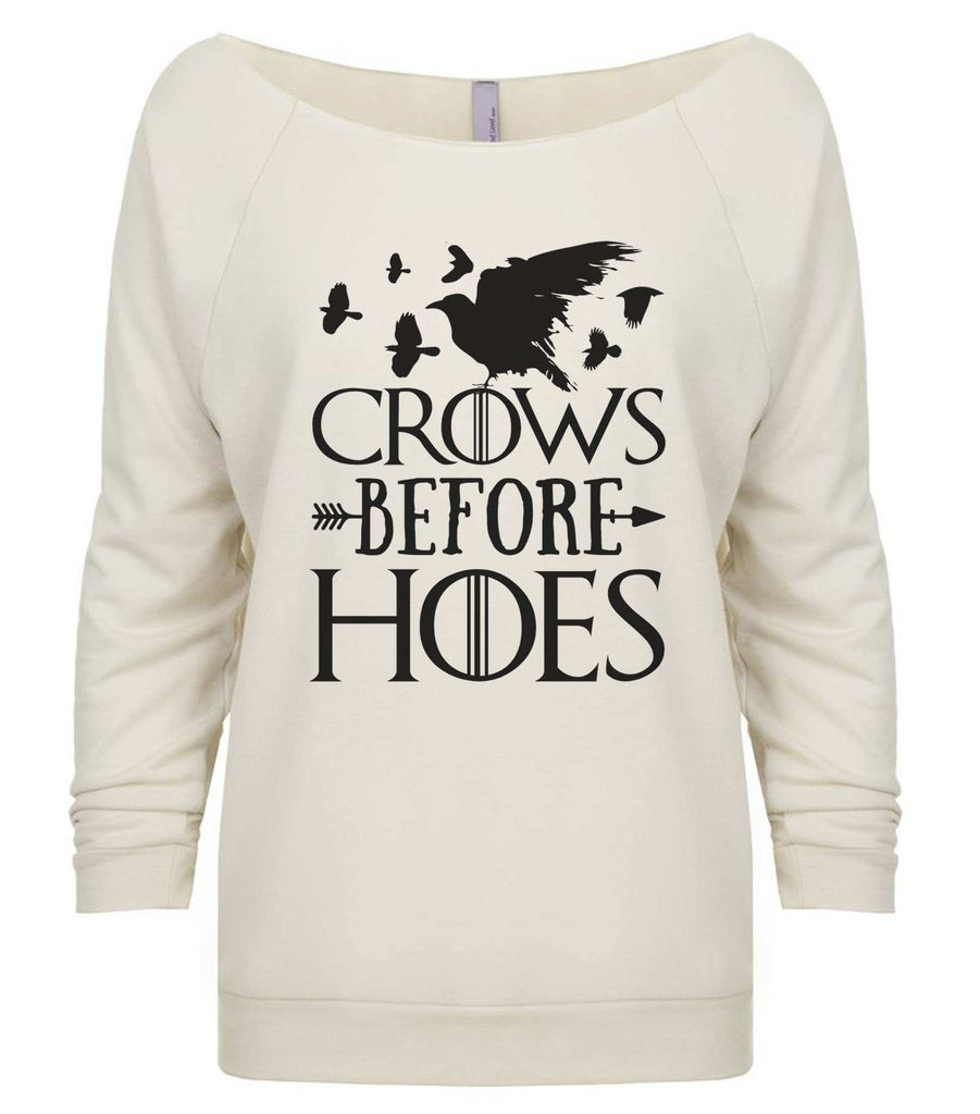 Crows Before Hoes 3/4 Sleeve Raw Edge French Terry Cut - Dolman Style Very Trendy Funny Shirt Small / Beige