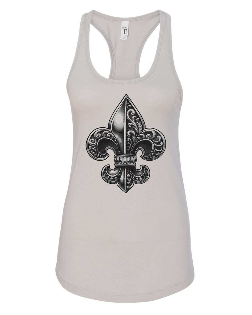 Womens Fleur De Lis Grapahic Design Fitted Tank Top Funny Shirt Small / Silver