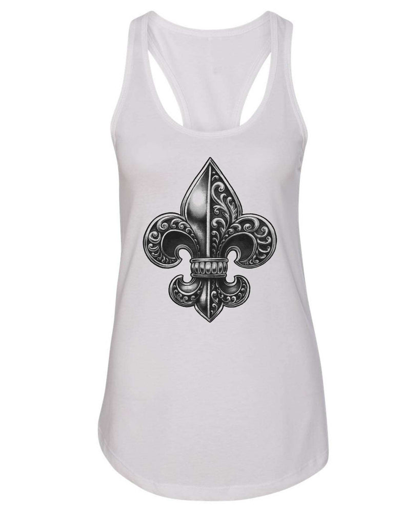 Womens Fleur De Lis Grapahic Design Fitted Tank Top Funny Shirt Small / White