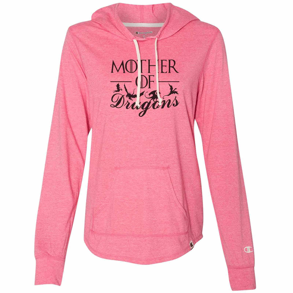 Mother Of Dragons - Womens Champion Brand Hoodie - Hooded Sweatshirt Funny Shirt Small / Pink
