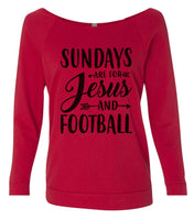 Sundays Are For Jesus And Football 3/4 Sleeve Raw Edge French Terry Cut - Dolman Style Very Trendy Funny Shirt Small / Red