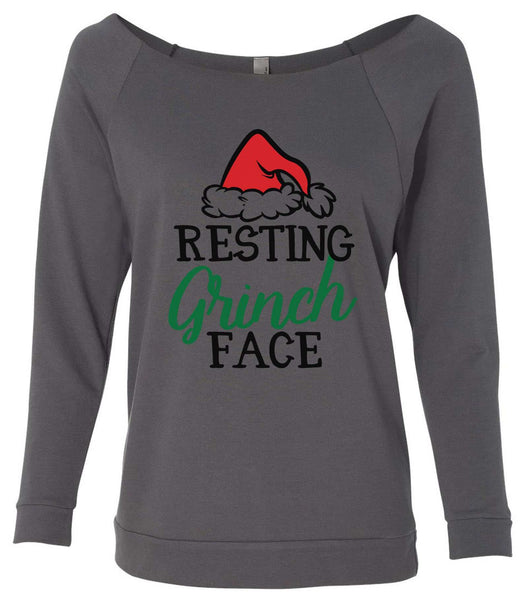 Resting Grinch Face 3/4 Sleeve Raw Edge French Terry Cut - Dolman Style Very Trendy Funny Shirt Small / Charcoal Dark Gray