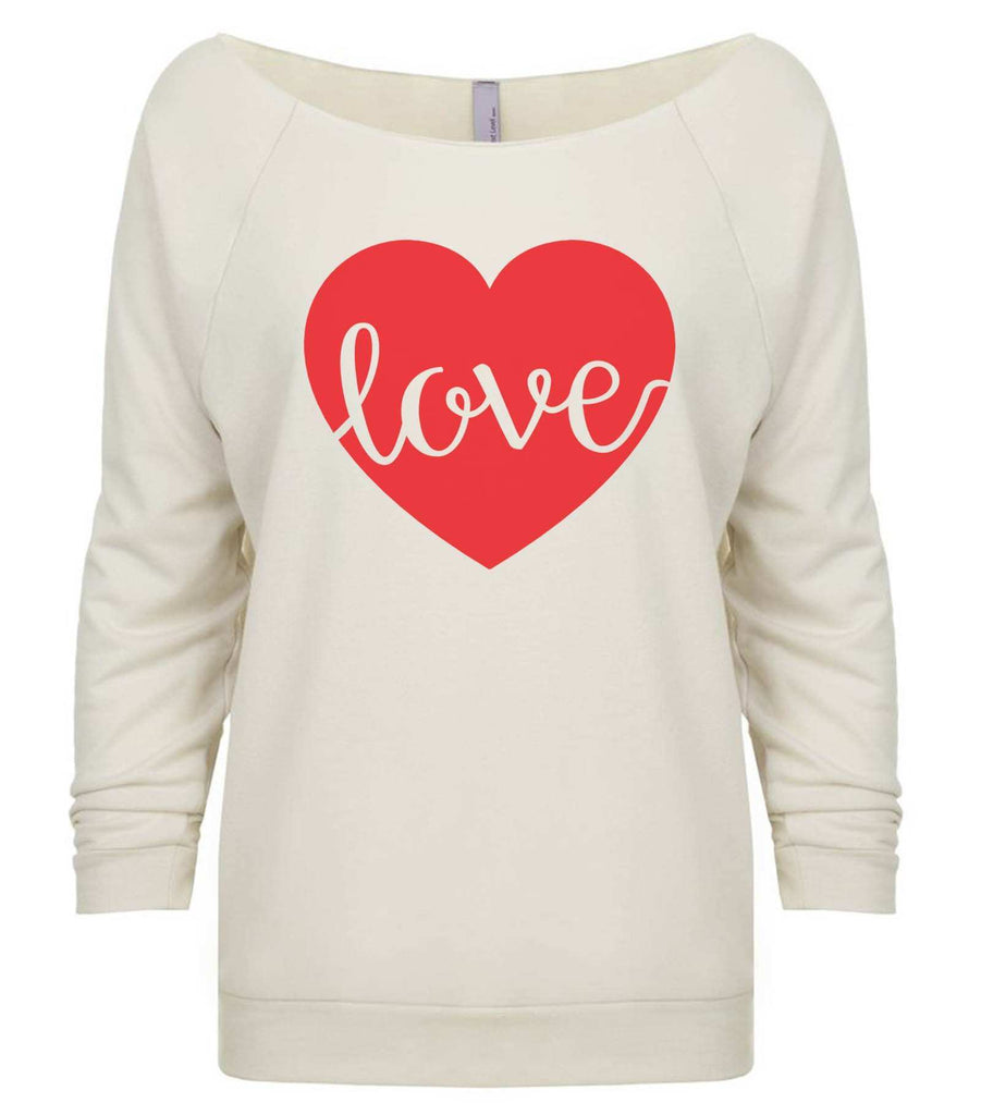 Love 3/4 Sleeve Raw Edge French Terry Cut - Dolman Style Very Trendy Funny Shirt Small / Beige