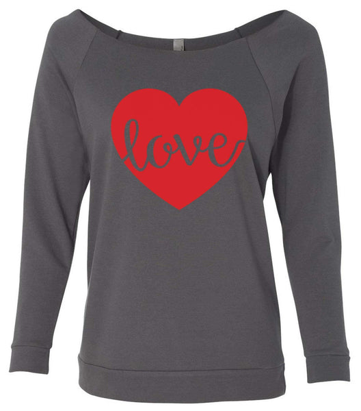 Love 3/4 Sleeve Raw Edge French Terry Cut - Dolman Style Very Trendy Funny Shirt Small / Charcoal Dark Gray