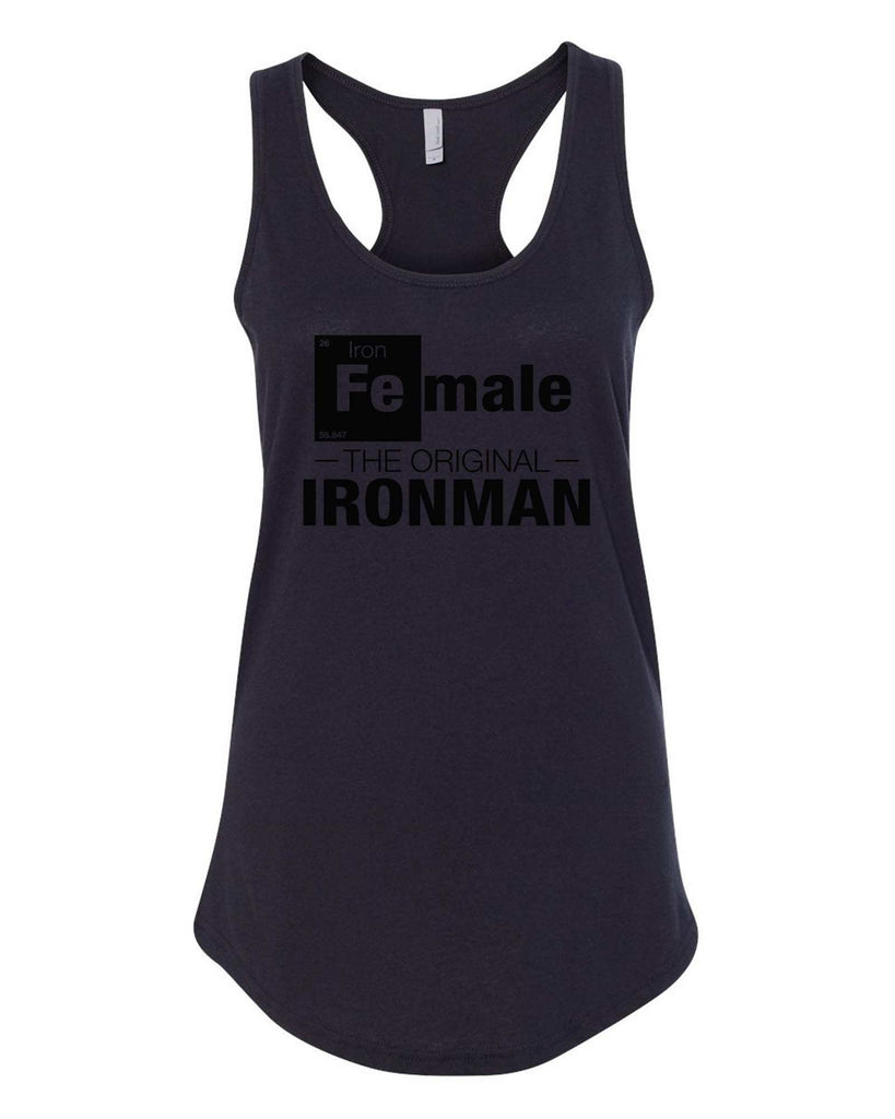 Womens Female-The original- IronMan Grapahic Design Fitted Tank Top Funny Shirt Small / Black