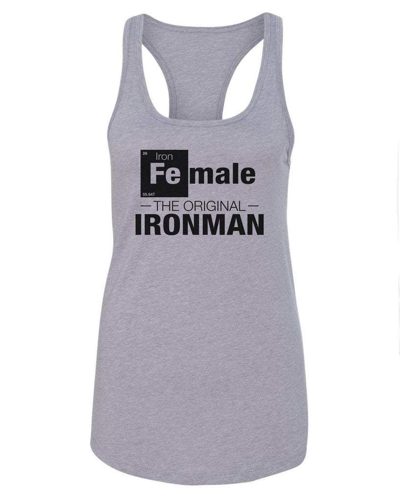 Womens Female-The original- IronMan Grapahic Design Fitted Tank Top Funny Shirt Small / Grey