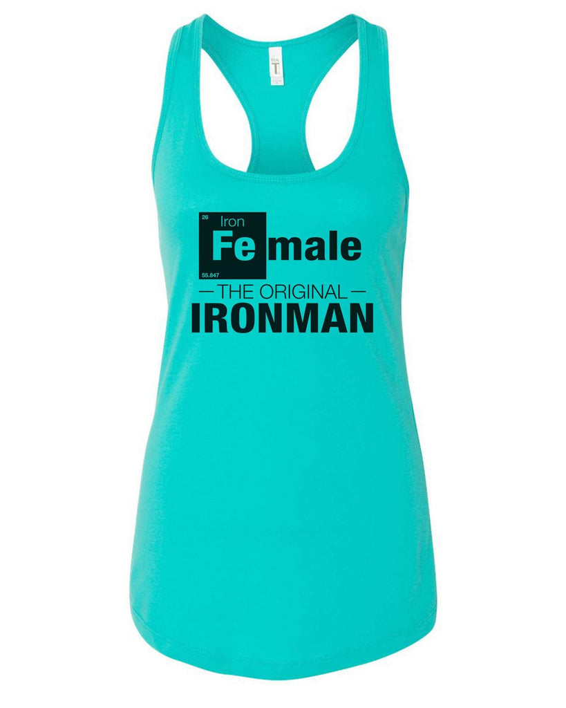 Womens Female-The original- IronMan Grapahic Design Fitted Tank Top Funny Shirt Small / Sky Blue